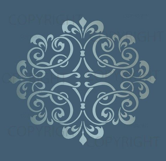 Large WALL DAMASK STENCIL pattern faux mural 1012 by Lightsforever, $12.75