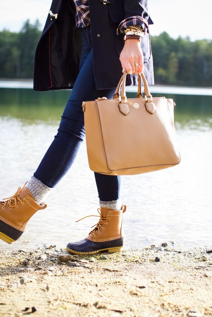New England Style | Bean Boots | Toggle Coat | Plaid Shirt | Tory Burch