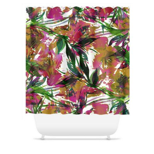 FLORAL FIESTA EXOTIC Tropical Magenta Pink Green Flowers by EbiEmporium, #colorful #floral #flowers #tropical #exotic #botanical #hotpink #magenta #pink #green #chic #boho #bathroom #showercurtain #shower #watercolor #design #modern #girly #pretty #feminine