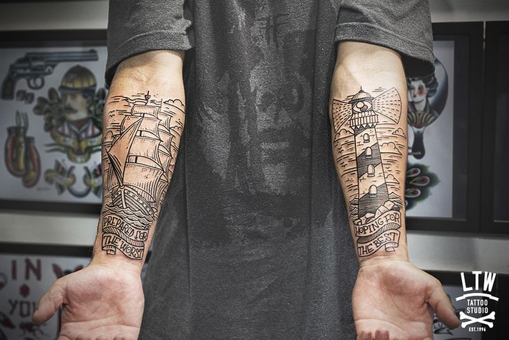 ship and lighthouse, linework, tattoo by cisco (ltw studio)