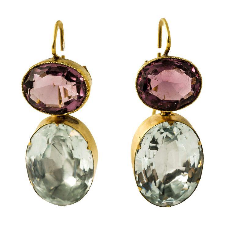 Regency Amethyst Aquamarine Gold Earrings. Foiled Amethyst and Aquamarine drop earrings in 15ct Gold, c 1800