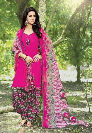Pink Cotton Printed Patiala Salwar Suit #punjabisalwarKameez #patialasuit #nikvik #sale # dress #designer #usa #australia #canada #suits