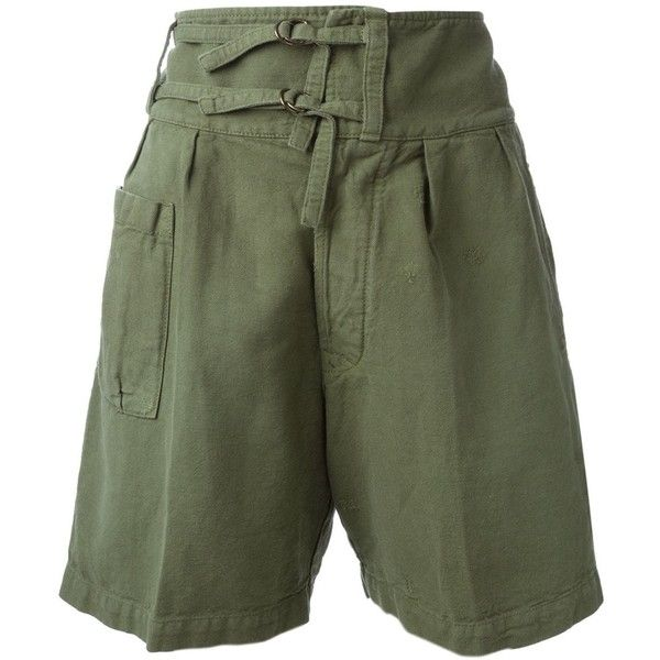 +People Military Shorts (1 010 SEK) ❤ liked on Polyvore featuring shorts, green, green shorts, (+) people, military style shorts, military fashion and free people shorts