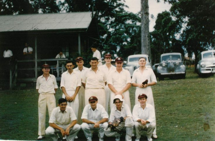 John Biggs (front row, second from left) with the UQ Cricket Club First XI in 1957.