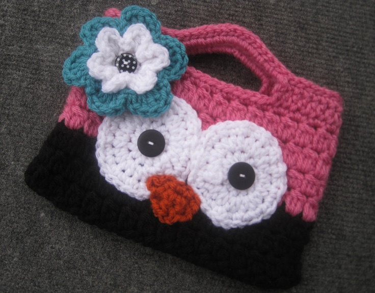 Crocheted Owl Purse - Perfect size for your little one to place their items that they just can't leave home without!