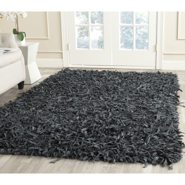Safavieh Handmade Leather Shag Grey Leather Rug Square)   Overstock™  Shopping   Great Deals On Safavieh Round/Oval/Square