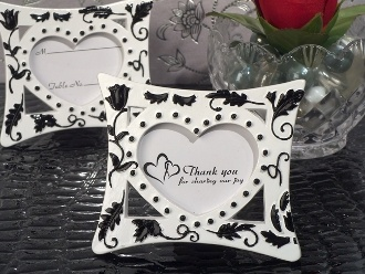 place card holder party favor each silver place card holder has an ornate silver heart design accented with pink crystals it is attached to a metal stick