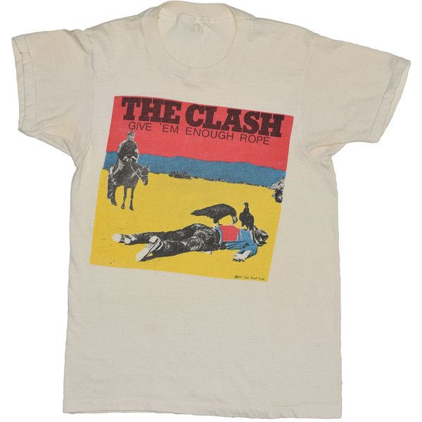 Clash Shirt 1978 Vintage Give Em Enough Rope Promo Original 70s Tshirt... (2.720 BRL) ❤ liked on Polyvore featuring tops, t-shirts, vintage tees, tee-shirt, t shirts, vintage tops and roper shirts
