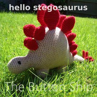 The Button Ship: Free pattern: hello stegosaurus. In UK terms but has key for US terms at top of pattern.