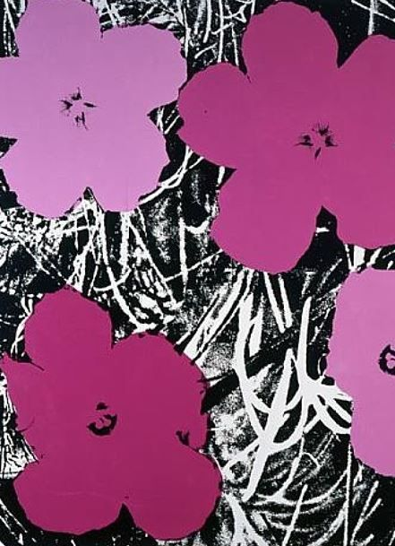 Elaine Sturtevant Re-Mix  / Andy Warhol Flowers 1964    -   [an obliging Warhol helped Ms. Sturtevant by lending her his original screen]     -      http://www.sothebys.com/en/news-video/videos/2013/10/Floral-Fantasy.html     -     -     http://www.nytimes.com/2014/05/17/arts/design/elaine-sturtevant-appropriation-artist-is-dead-at-89.html?_r=0