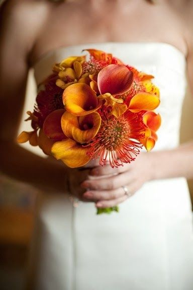 Orange bouquet wedding