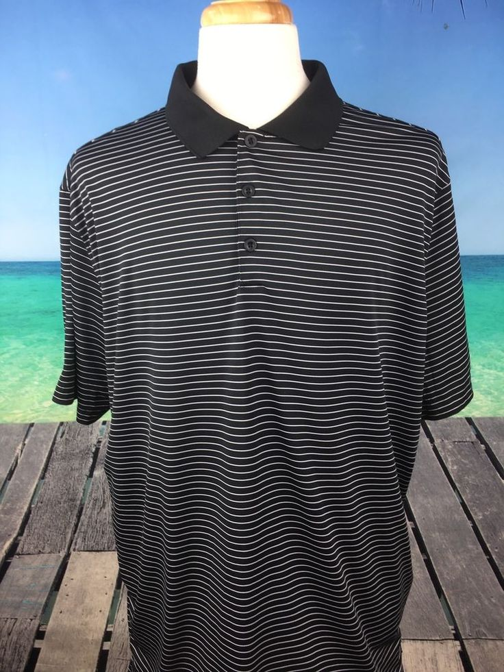 Nike Golf Tour Performance Mens Shirt Sz 2XL Dri Fit Black Polo Short Sleeve A10 #NikeGolfTourPerformance #PoloRugby