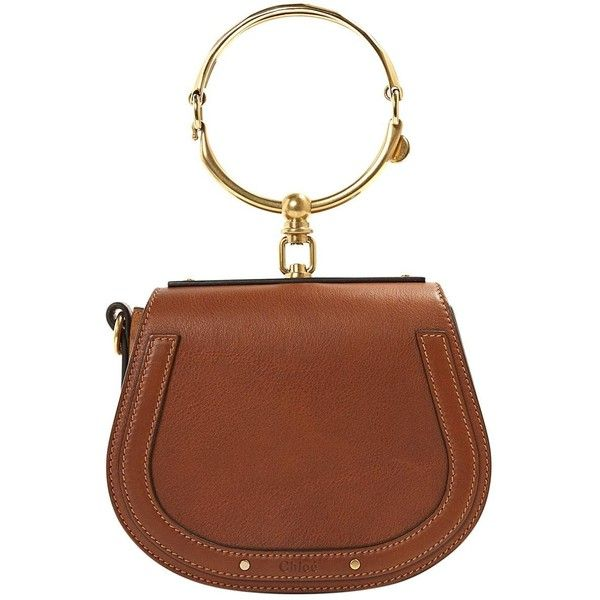 Pre-owned Chloé Bracelet Nile Leather Handbag ($1,367) ❤ liked on Polyvore featuring bags, handbags, camel, women bags handbags, mini handbags, brown leather purse, mini leather handbags, brown handbags and man bag