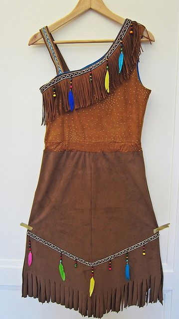 costume for carnival as an Indian / Squaw; one shoulder dress