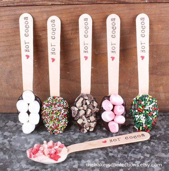 Christmas Hot Cocoa LARGE Wooden Spoons by thebakersconfections