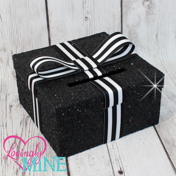 Mini Card Box - Size 8 x 8 x 4 - Striped Ribbon & Glitter Black - Baby Shower, Bridal Shower, Birthday - Advise Box, Game Box, Raffle Box