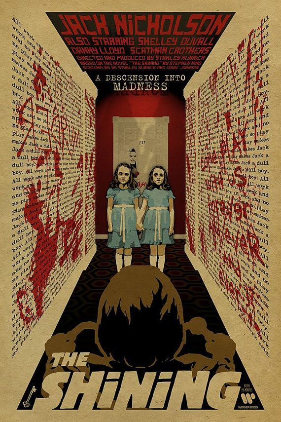 L'affiche de Shining. Jumelles Grady. Jack Nicholson. 12 x 18. papier Kraft. Knoxville. Movie. Stephen King. Artwork. Impression. Impression. Horreur