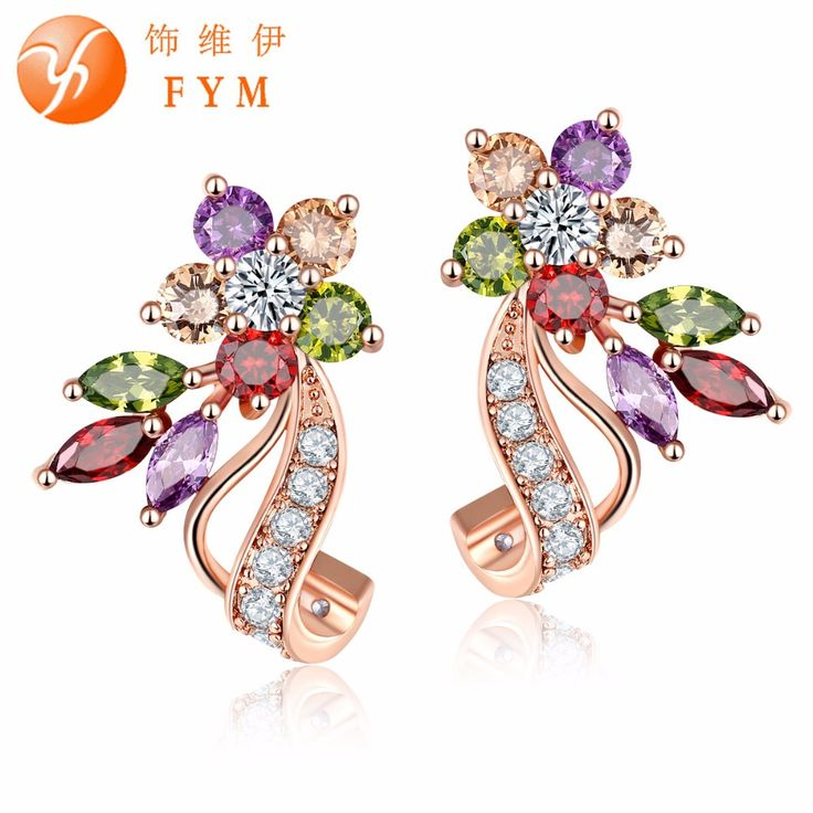 Fashion Simple New Design CZ Diamond Colorful Stud Earrings Champagne Gold Plated Piercing Ear Studs for Women Wedding Party