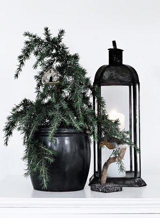 Op naar het bos voor mooie tak in oude pot, lantaarn ernaast en je hebt een mooi sfeerhoekje