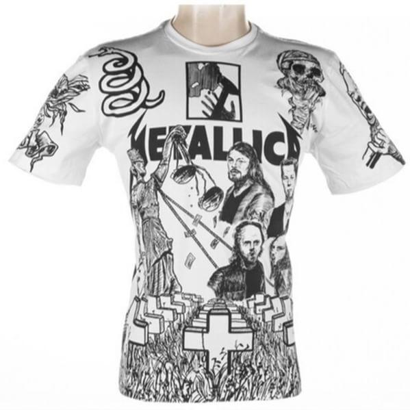 Camisa Metallica  A camiseta do Metállica foi totalmente desenhada pelo artista plástico Rafael Matos, fã da banda, que destacou seus integrantes e de elementos referentes a álbuns, tais como ...And Justice for All (88), Master of Puppets (86) e St. Angel (2003). Nossas camisas são confeccionadas em malha 100% algodão penteado, 30 fios. Desenhadas artisticamente e estampadas por processo de serigrafia manual, nossas camisetas, são sempre pensadas para oferecer conforto, durabilidade e…