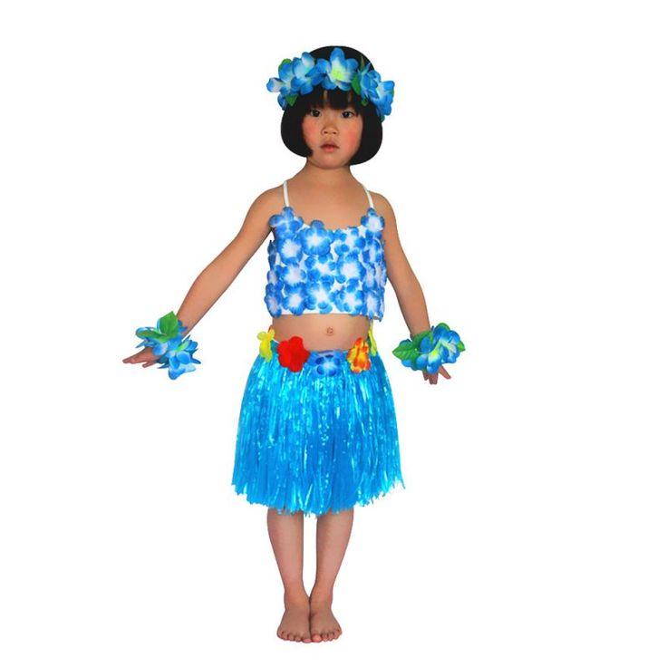 >> Click to Buy << 2017 Child Hawaiian Grass Skirt Flower Hula Lei Garland Flower Top+Skirts Costume 5Pcs #Affiliate