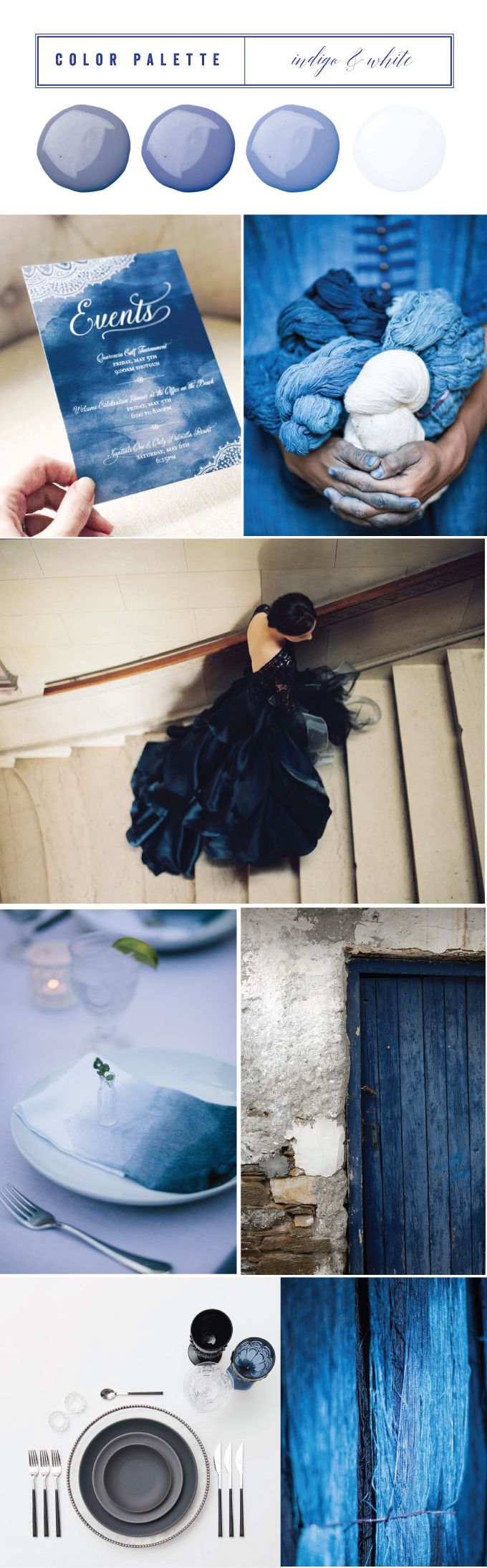 Indigo and White Wedding Color Palette and Inspirations | Wiley Valentine, watercolor, navy, custom invitations