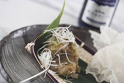 Hiramasa Namerou w Rice Crackers at Akachochin - Just amazing!