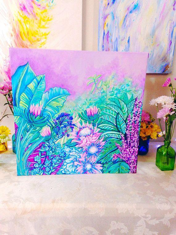 "Original Art Painting ""Lush""- Botanical/ Floral/ Jungle Art- Purple, Lavender, Green, Tropical Landscape- Plant Lover- Lavender Green Purple"