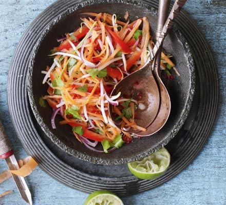 Thai carrot slaw - fantastic flavours & so easy. Have had it with fish & chicken, nice little taste sensation on the side.