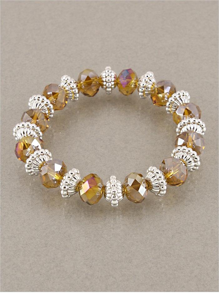 $10 - Stretchy Brown Crystal Beaded Bracelet