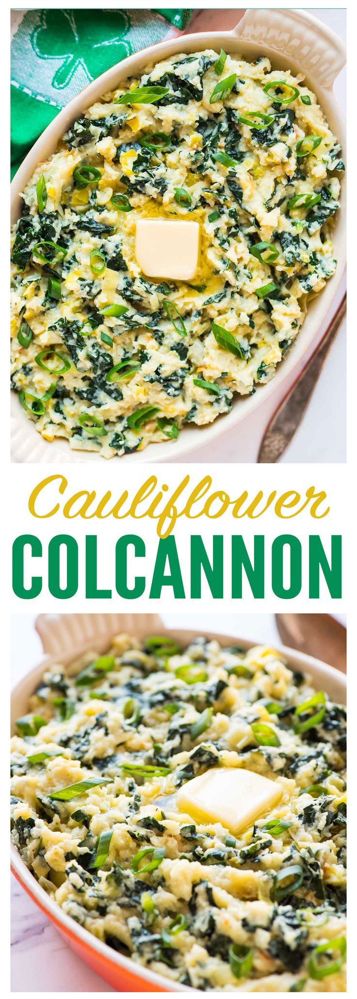 Creamy Mashed Cauliflower Colcannon. A low carb version of traditional Irish potatoes colcannon, made with kale and mashed cauliflower! This healthy Paleo recipe tastes decadent but is completely guilt free. Perfect for St. Patrick's Day or anytime you need a simple side dish. Recipe at http://wellplated.com | /wellplated/