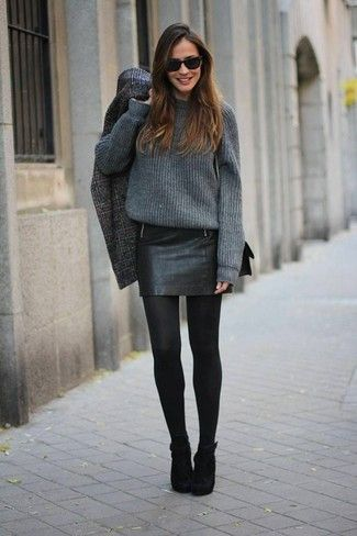 Women's Charcoal Plaid Coat, Charcoal Oversized Sweater, Black Leather Mini Skirt, Black Suede Ankle Boots