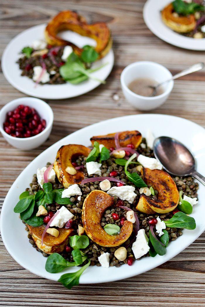 Salade de lentilles aux légumes d'hiver / Lentils salad with roasted squash © Tendance Food
