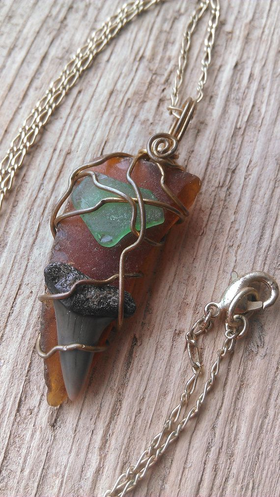 Brown and Green Potomac River Seaglass and by KarmicSutraCreations