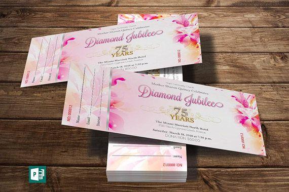 Fuchsia Diamond Jubilee Ticket Publisher Template  10 Gold