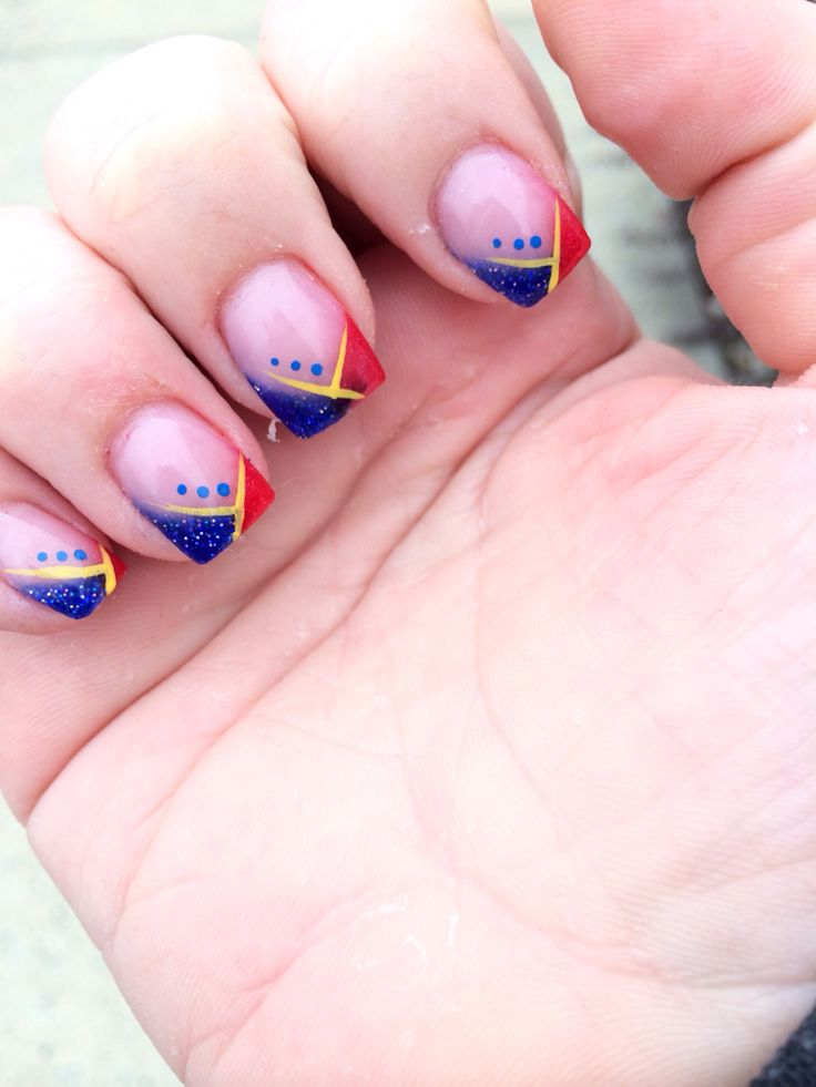 Superman colored nails. Easy and clean looking.