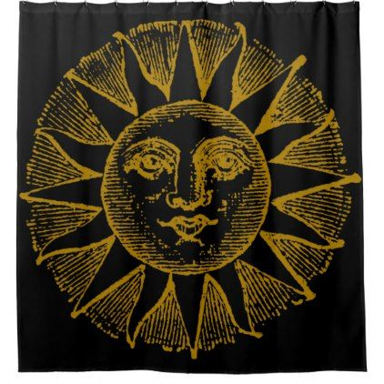 vintage yellow sun on black shower curtain - vintage gifts retro ideas cyo