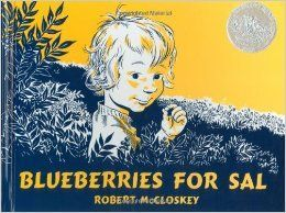 "1. (Classic) 2. McCloskey, Robert. ""Blueberries for Sal."" New York: Viking Press, 1948. Print. 3. Caldecott Award 4. Level M 5. Sal and her mother go picking berries when they get mixed up with a mama bear and her cub sending Sal with the mama bear and her cub with Sal's mother. The illustrations are done all in blue ink, making it stand out from books at the time as well as current popular books. The story is a classic mixup situation with loving characters and humor. 6. Allison Van Buren"