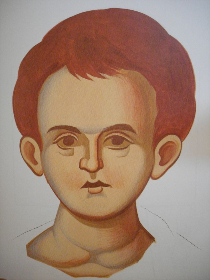 Face of Christ Child.  Style of Panselinos. Stage 3.