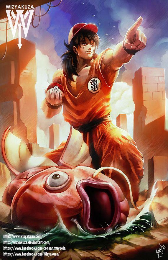 Yamcha and his Magikarp Pokemon & Dragon Ball Z by Wizyakuza