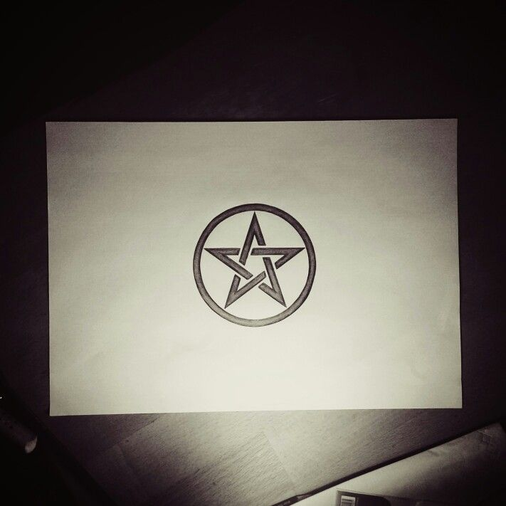 Pentacle selfdrawn with pencil
