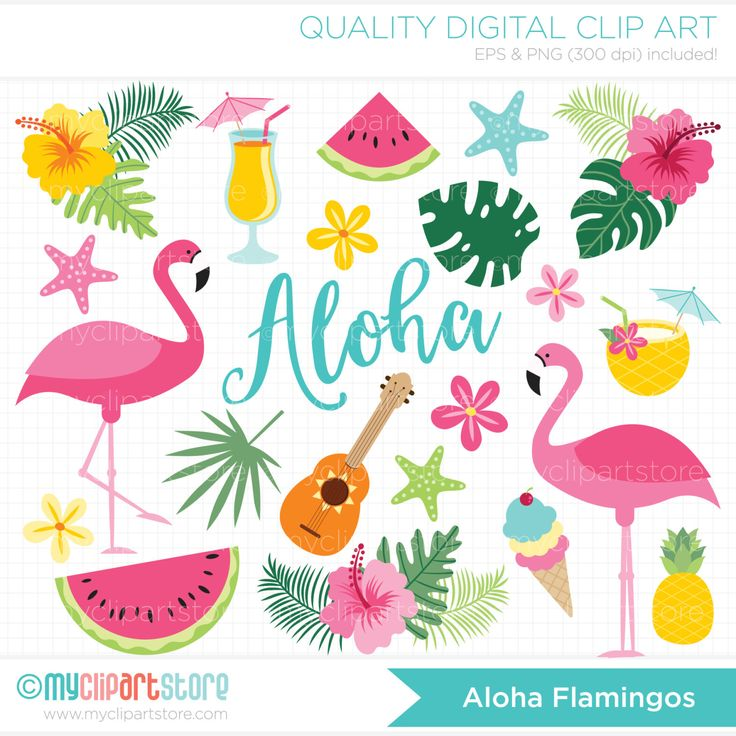 ALOHA FLAMINGO Vector Clipart: flamingos, tropical plants ...