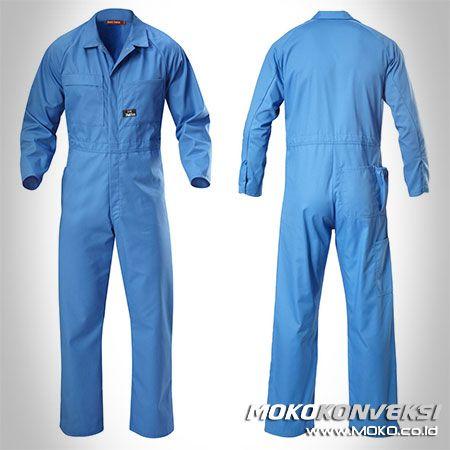 Safety Coverall - MOKO KONVEKSI. Desain Baju Bengkel Wearpack Coverall Warna Biru Polos.