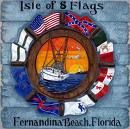 Logo showing the 8 flags Fernandina Beach has been under in its history.