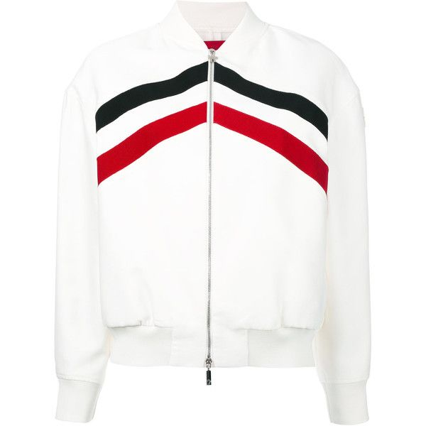 Moncler Gamme Rouge Bayouda bomber jacket ($1,915) ❤ liked on Polyvore featuring outerwear, jackets, white, white jacket, moncler gamme rouge, flight jackets, white flight jacket and white bomber jackets