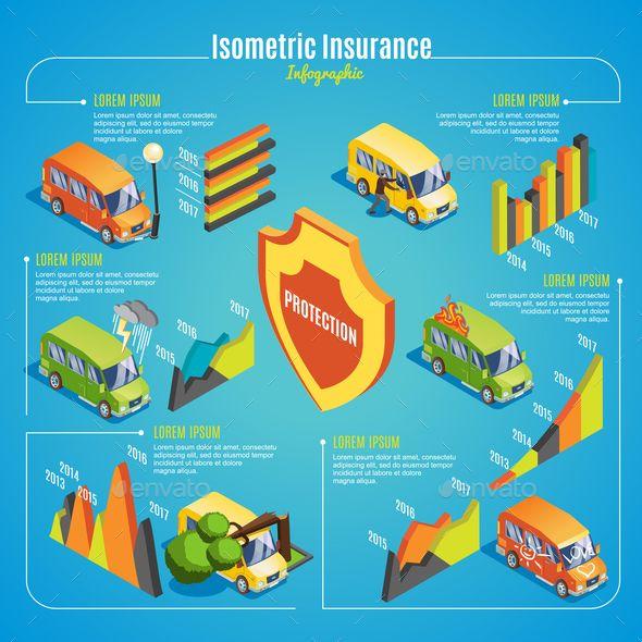 Isometric Car Insurance Infographic Concept Auto Repair Car Repair Garages Repair