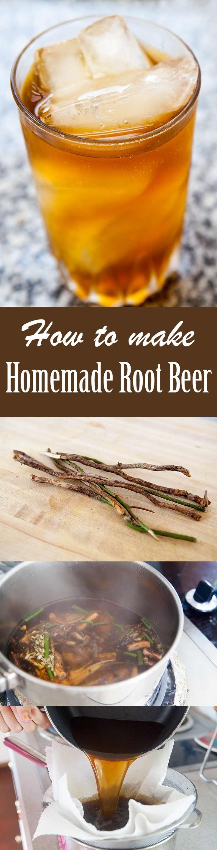 Homemade Root Beer, it's EASY! Kid-friendly version made with the roots of sassafras plants, spices, and molasses. #RootBeer #DIYrecipe #sassafras