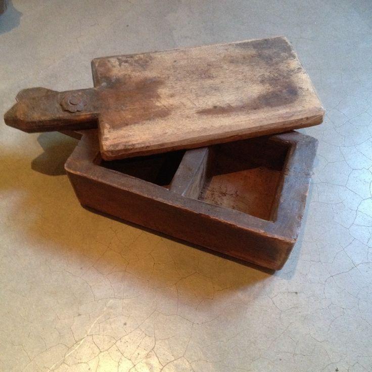oude stoere houten spice box kruidendoos theedoos landelijk sober