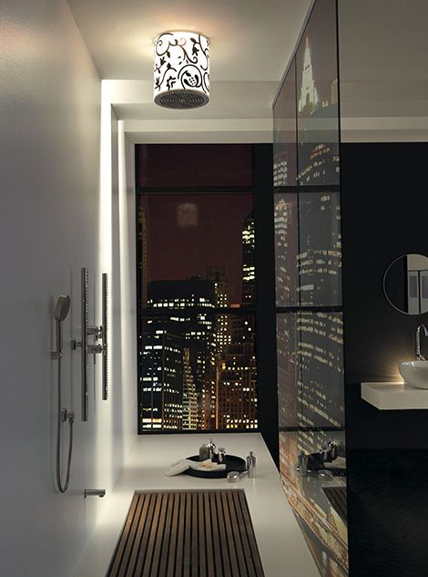 This is kind of amazing...large shower with a view and martinis; from apostrophe...9