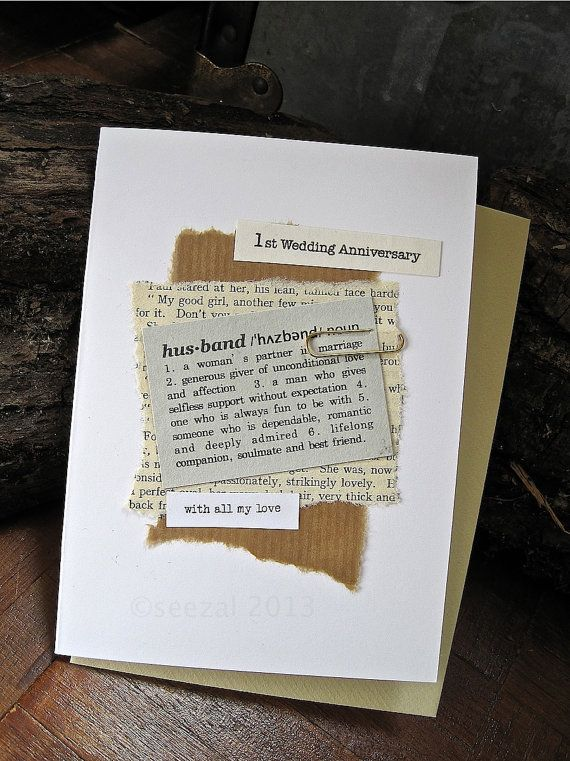 1st Anniversary Card Husband. Paper. Dictionary style Definition on Vintage Book pages and Up-cycled paper. Wedding Day. Birthday.